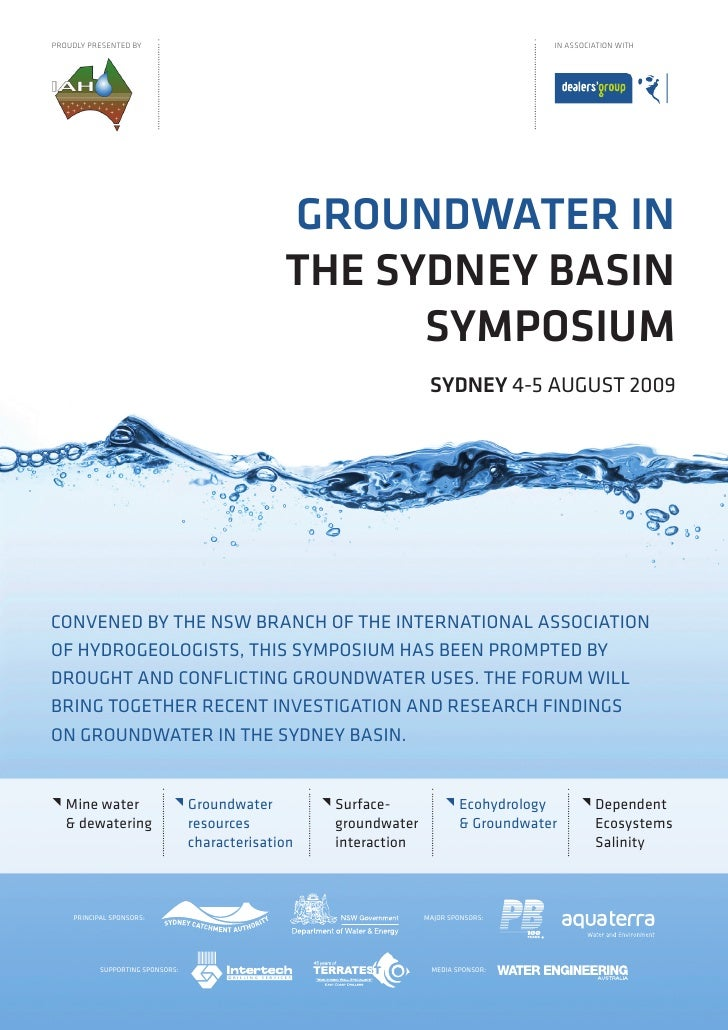IAH Symposium 2009 - Groundwater in the Sydney Basin