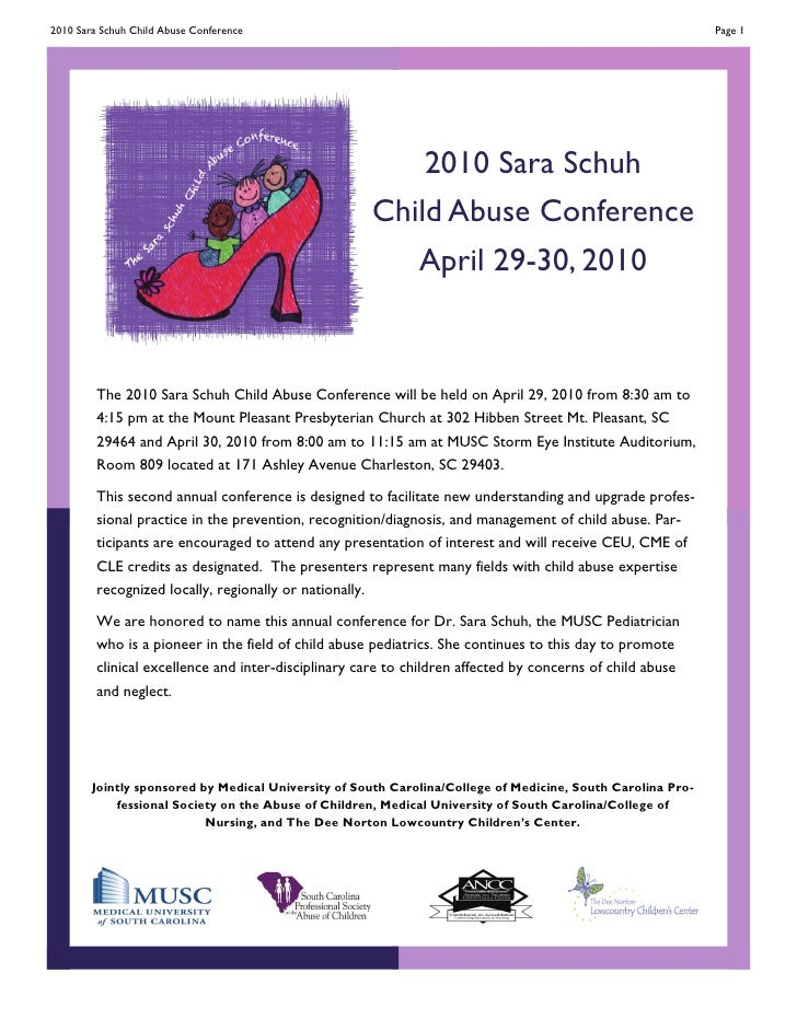 2010 Sara Schuh Child Abuse Conference                                                                       Page 1       ...