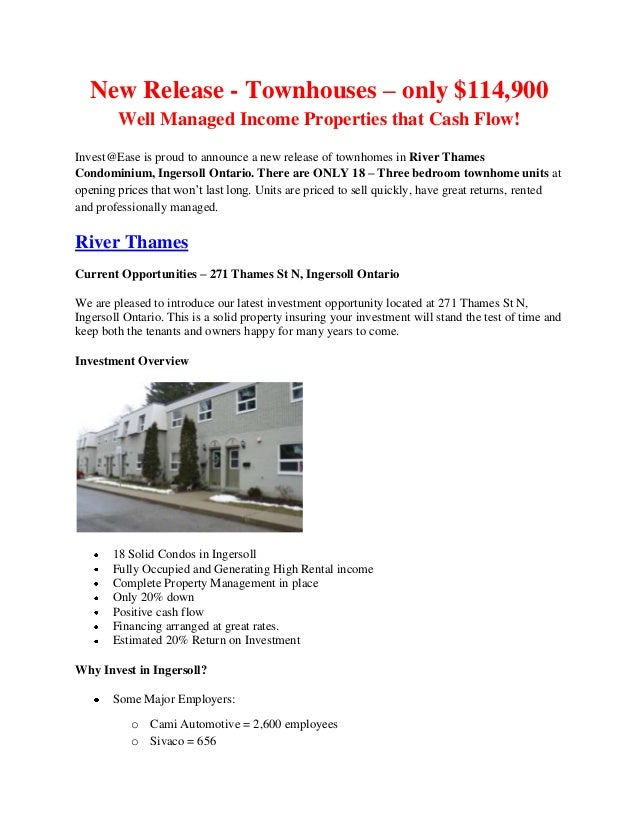 New Release - Townhouses – only $114,900 Well Managed Income Properties that Cash Flow! Invest@Ease is proud to announce a...