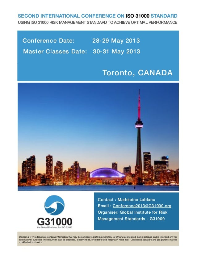 1SECOND INTERNATIONAL CONFERENCE ON ISO 31000 STANDARDUSING ISO 31000 RISK MANAGEMENT STANDARD TO ACHIEVE OPTIMAL PERFORMA...