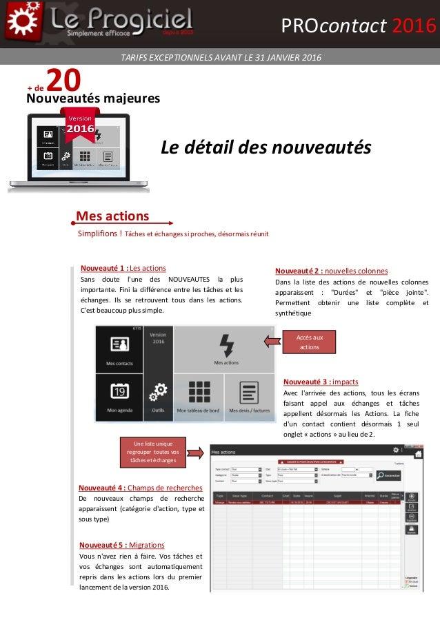admin pass + de 20Nouveautés majeures Mes actions TARIFS EXCEPTIONNELS AVANT LE 31 JANVIER 2016 PROcontact 2016 Nouveauté ...