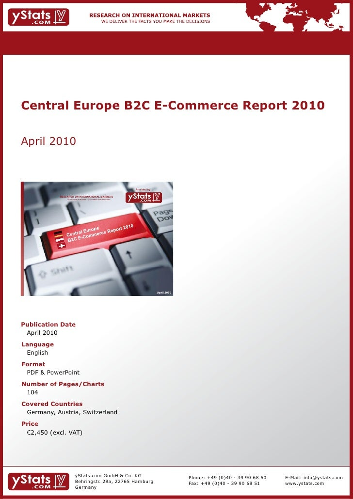 Central Europe B2C E-Commerce Report 2010 by yStats.com