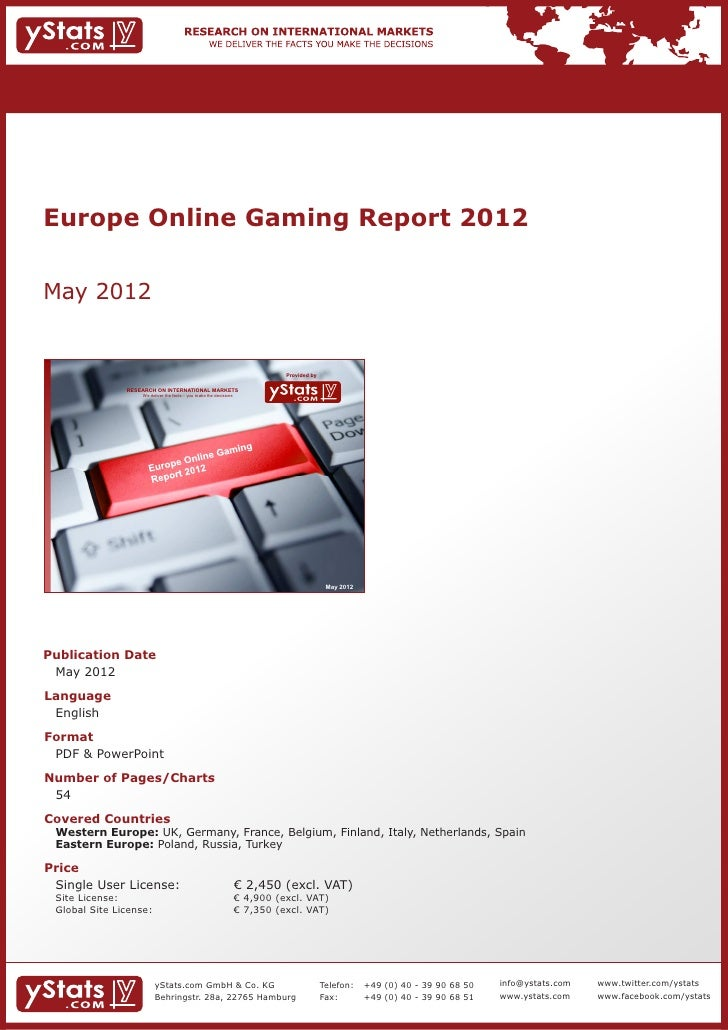 Europe Online Gaming Report 2012May 2012                                                                               Pro...