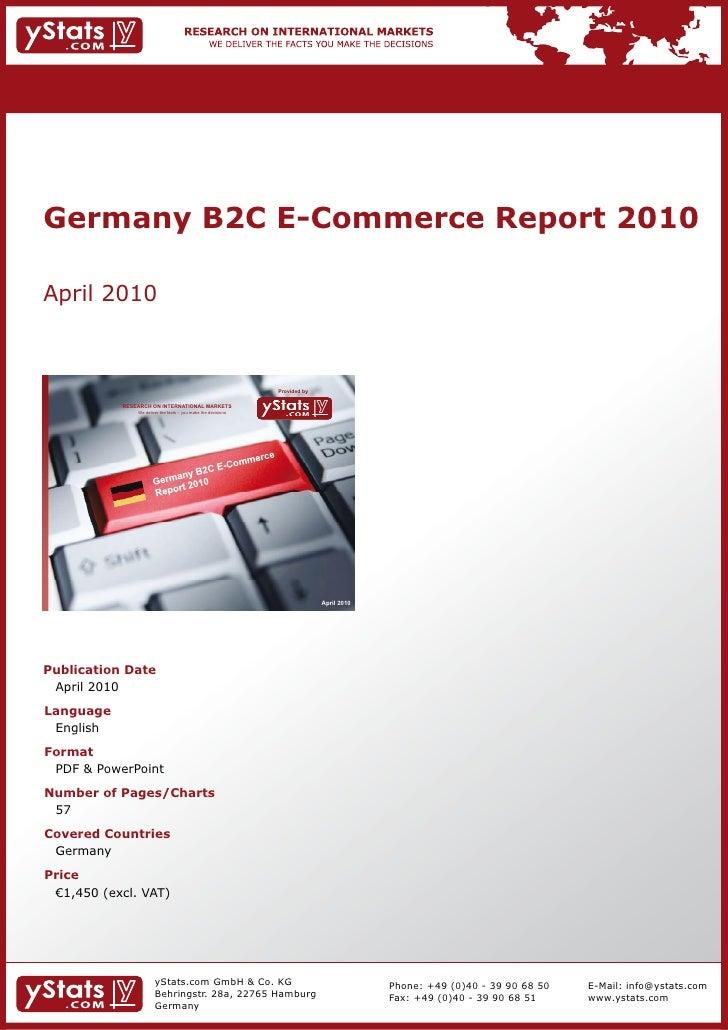 Germany B2C E-Commerce Report 2010 by yStats.com