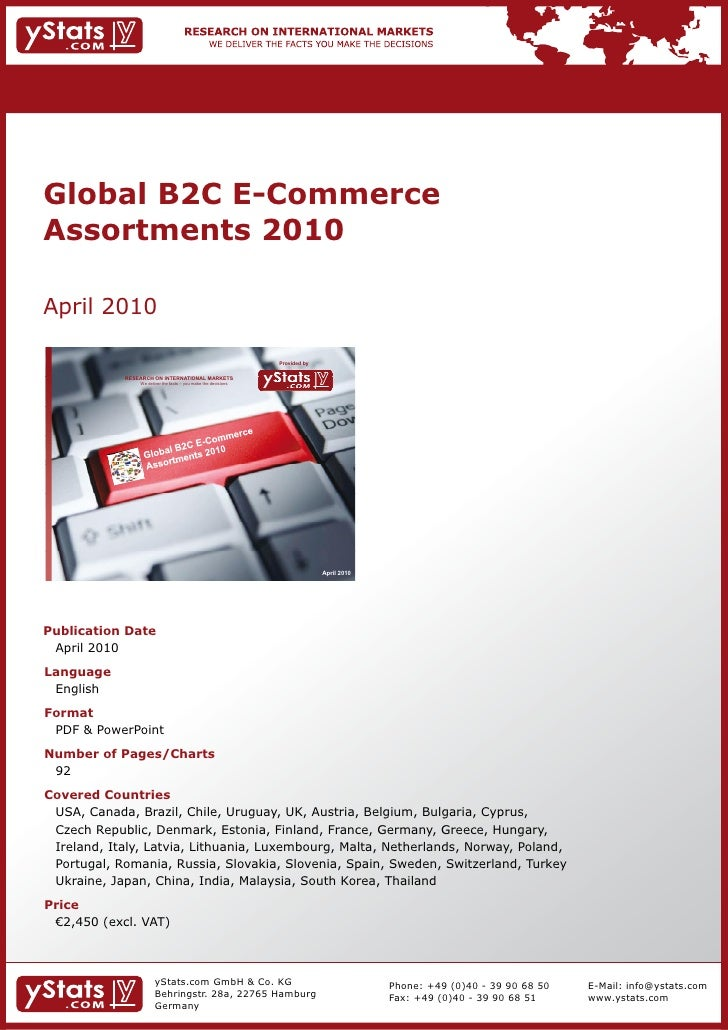 Global B2C E-Commerce Assortments 2010 by yStats.com