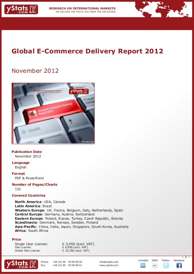 Global E-Commerce Delivery Report 2012November 2012                                                                       ...