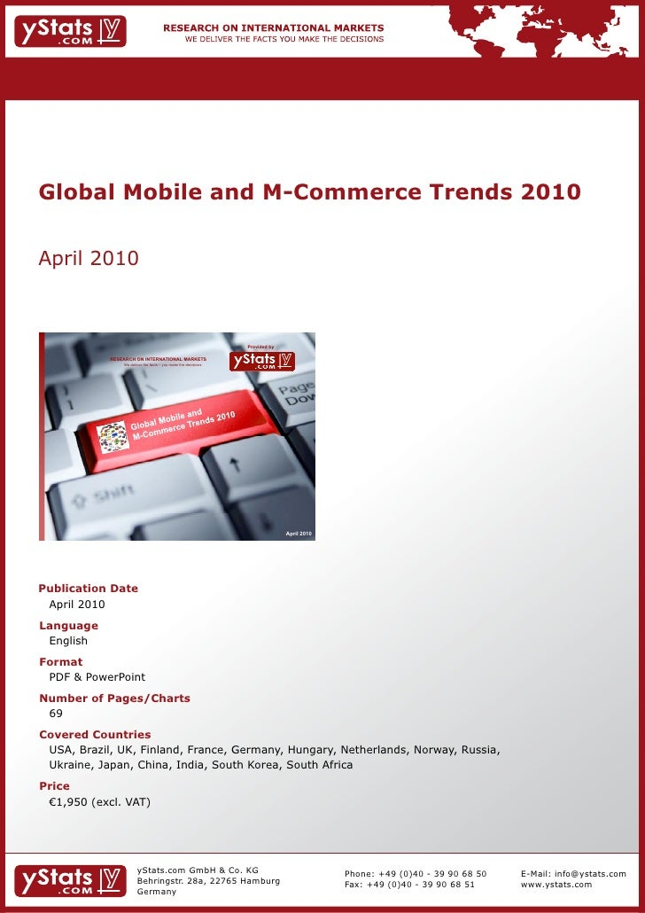 Global Mobile and M-Commerce Trends 2010 by yStats.com