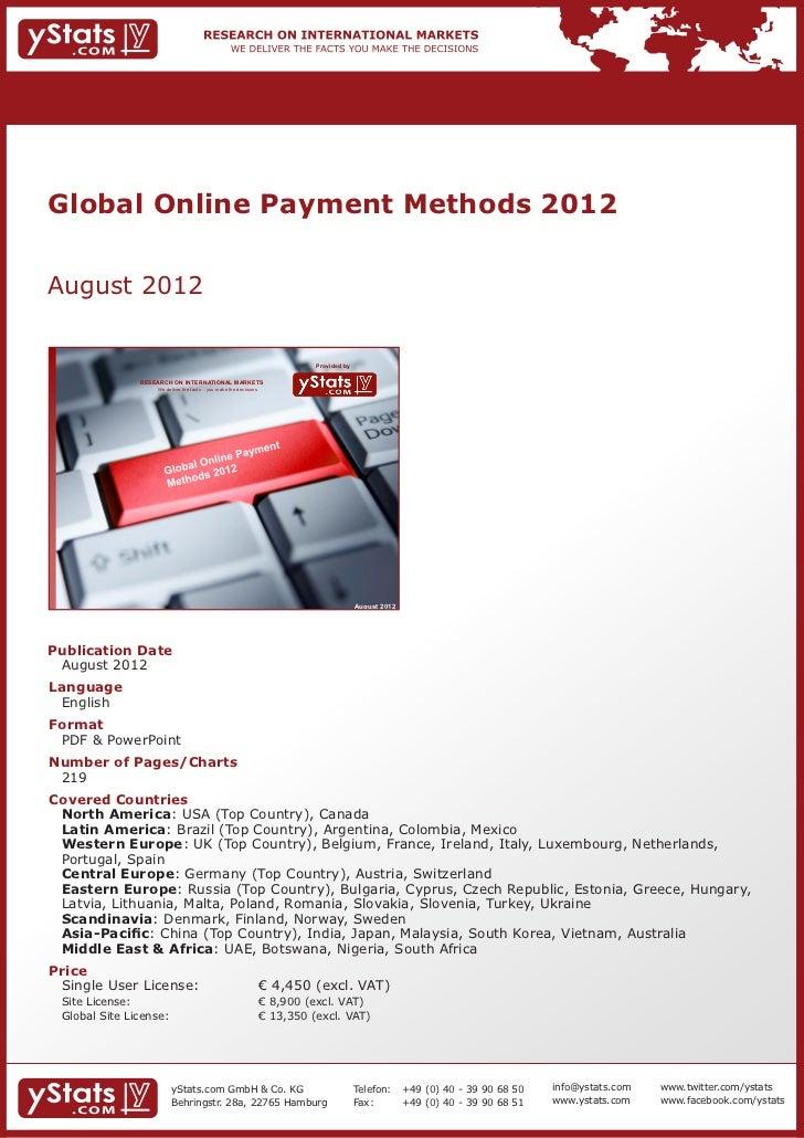 Global Online Payment Methods 2012August 2012                                                                           Pr...