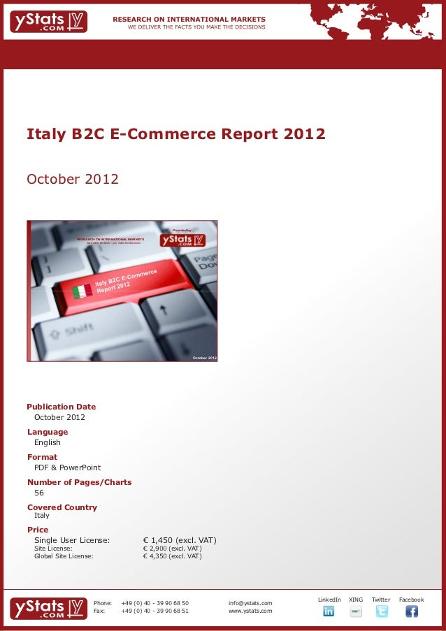 Italy B2C E-Commerce Report 2012October 2012                                                                             P...