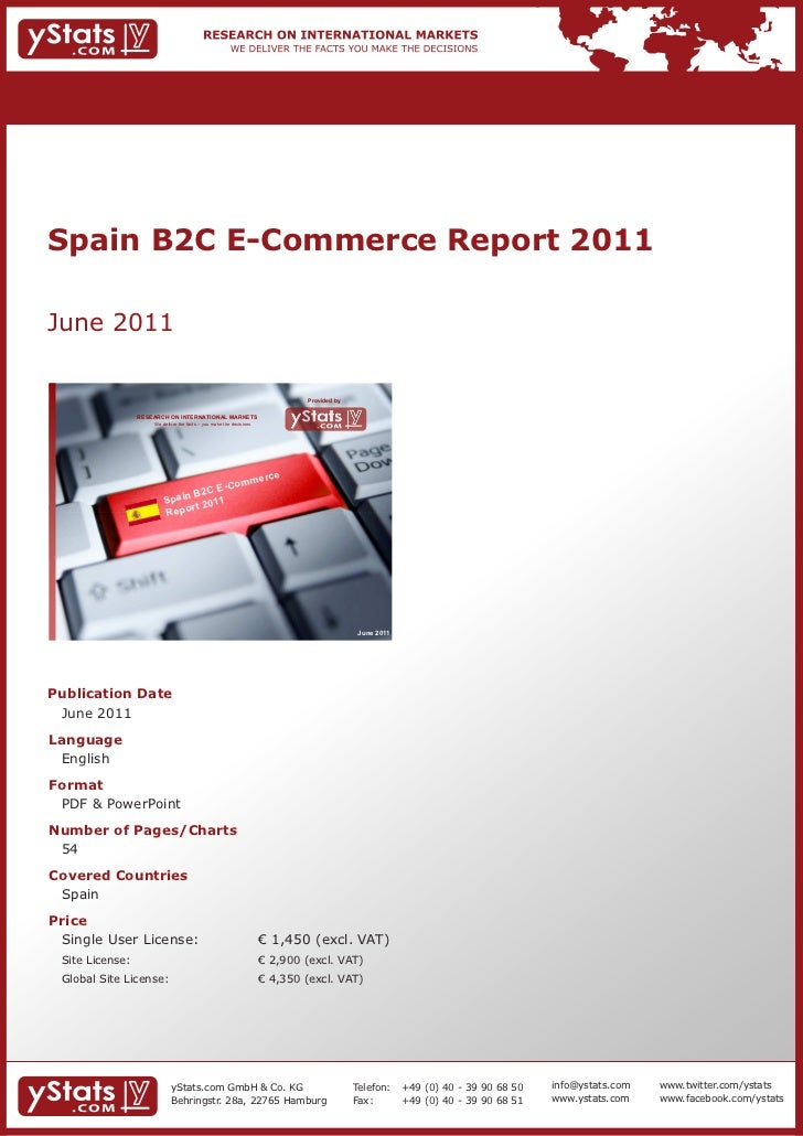 Spain B2C E-Commerce Report 2011June 2011                                                                              Pro...