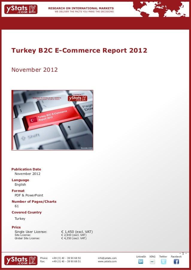 Turkey B2C E-Commerce Report 2012November 2012                                                                            ...