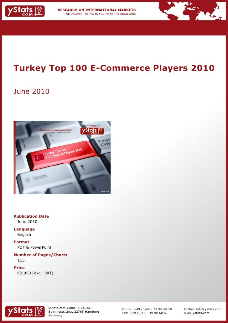 Turkey Top 100 E-Commerce Players 2010June 2010                                                                Provided by...