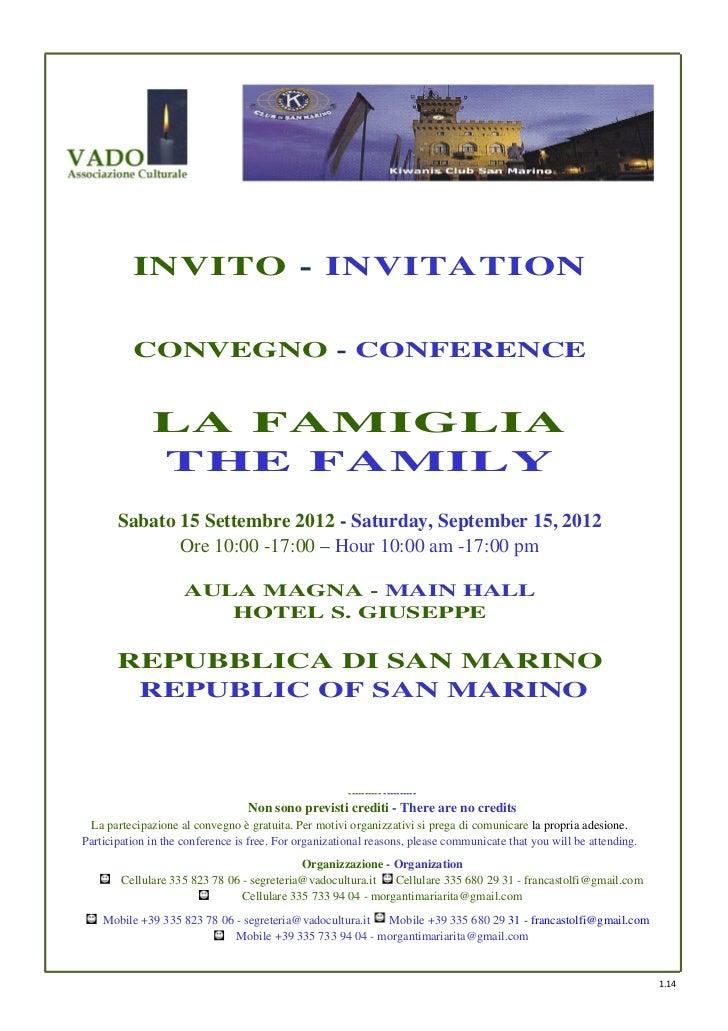"""Convegno """"La Famiglia"""" San Marino 15 Settembre 2012_Brochure- 2Draft"""