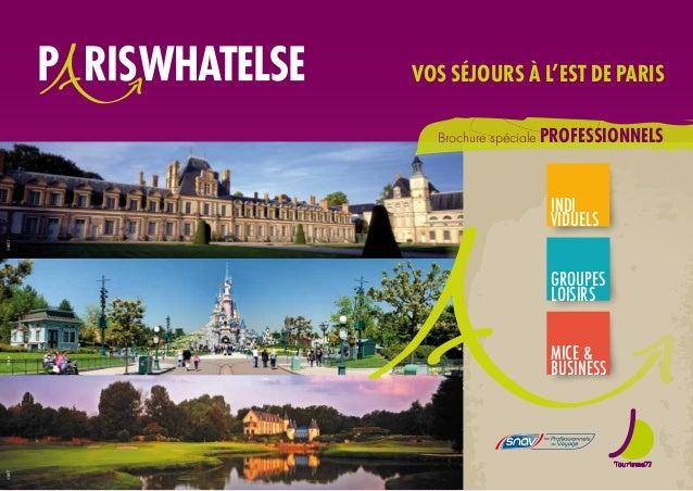 Brochure spéciale professionnels vos séjours à l'Est de Paris INDI VIDUELS GROUPES LOISIRS MICE & BUSINESS ©Disney©SMT77©S...