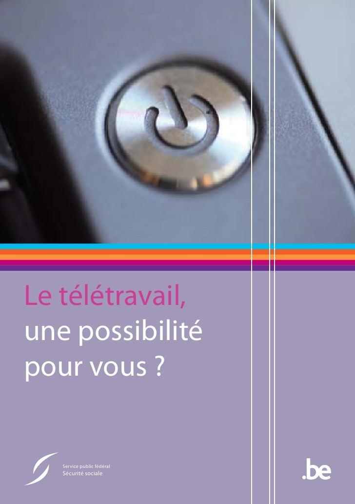 """Brochure: """"Le télétravail: une option pour vous?"""""""