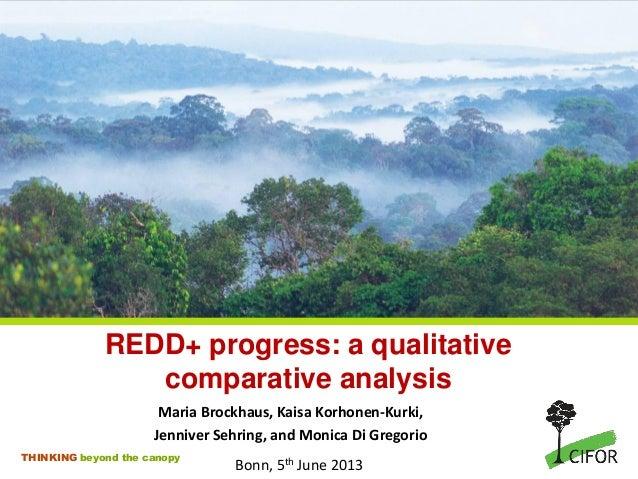 THINKING beyond the canopyREDD+ progress: a qualitativecomparative analysisMaria Brockhaus, Kaisa Korhonen-Kurki,Jenniver ...