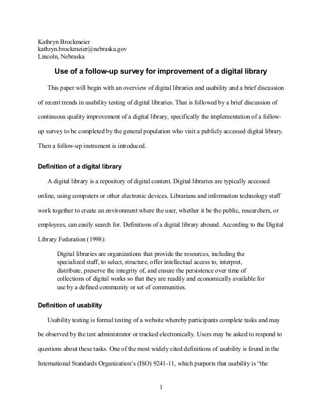 Use of a follow-up survey for improvement of a digital library
