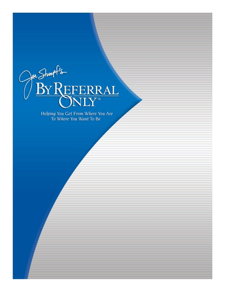 Joe Stumpf\'s By Referral Only- Membership Brochure