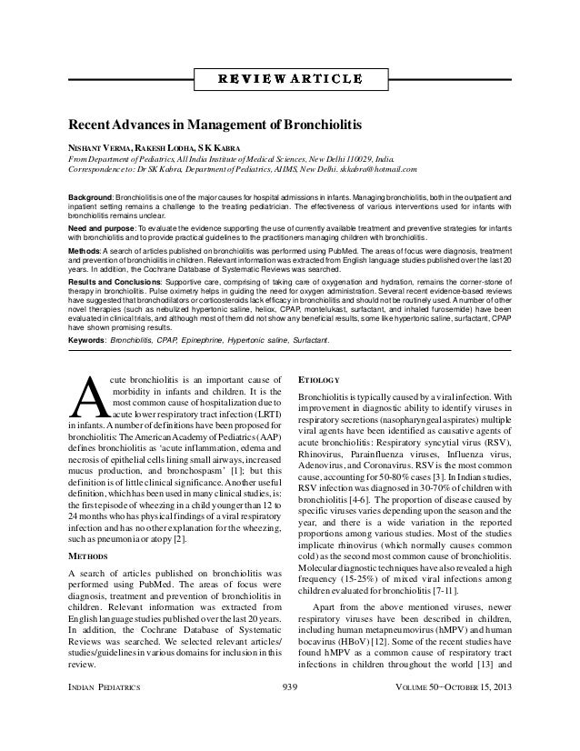 INDIAN PEDIATRICS 939 VOLUME 50__OCTOBER 15, 2013 A cute bronchiolitis is an important cause of morbidity in infants and c...