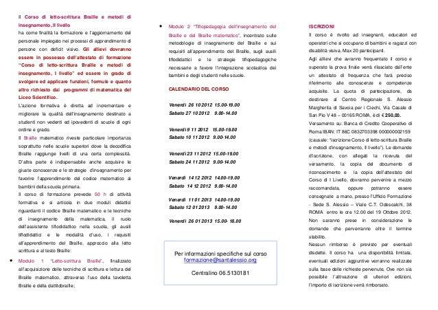 Roma. Corso di letto-scrittura Braille e metodi di insegnamento. 2 livello