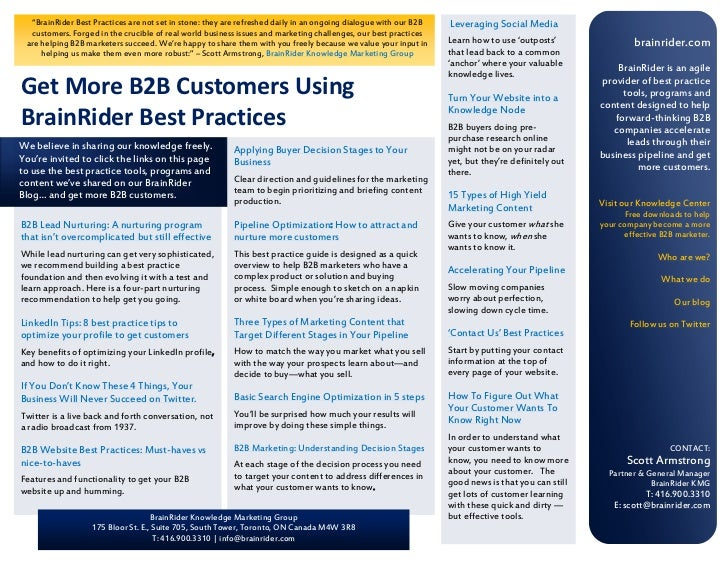 """BrainRider Best Practices are not set in stone: they are refreshed daily in an ongoing dialogue with our B2B   Leveraging..."