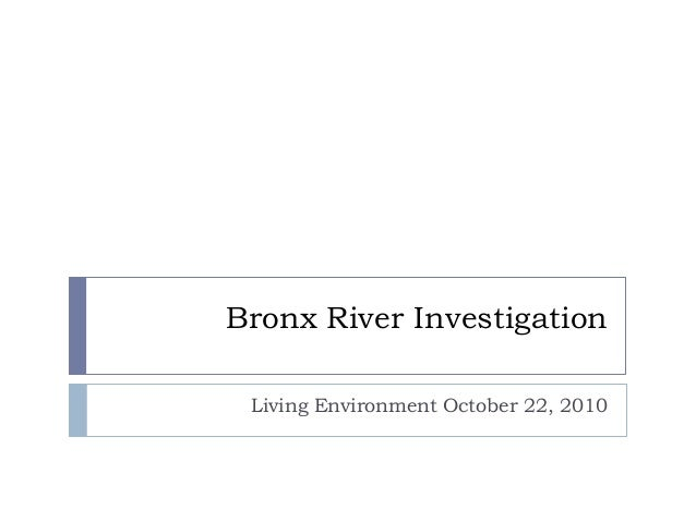 Bronx River Investigation Living Environment October 22, 2010