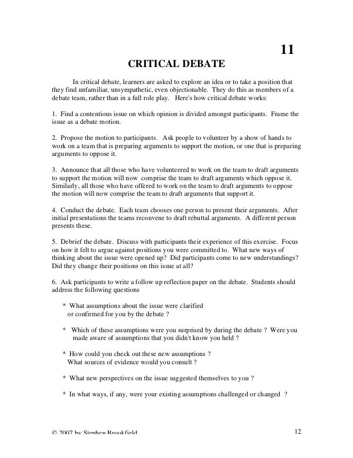 stephen brookfield critical thinking framework Powerpoint presentations teaching for critical thinking becoming a skillful  teacher discussion as a way of teaching the ethical use of teacher power.