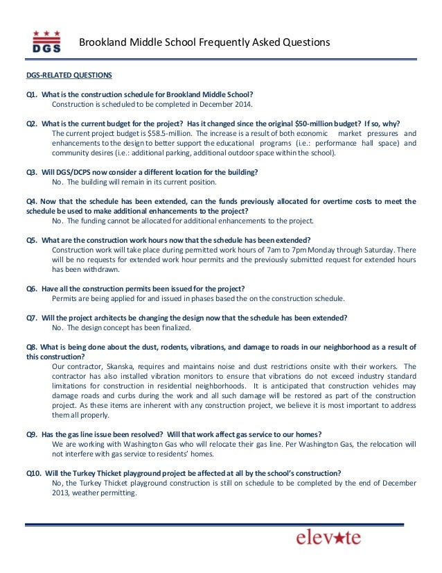 Brookland Middle School Frequently Asked Questions DGS-RELATED QUESTIONS Q1. What is the construction schedule for Brookla...