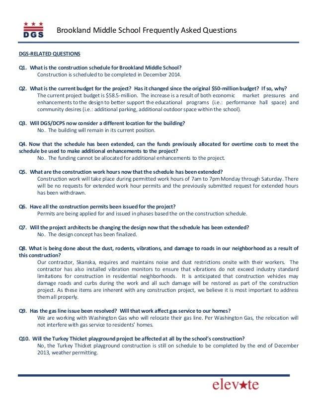 Brookland Middle School Community Meeting Fact Sheet (November 16, 2013)