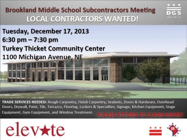 Brookland Middle School Subcontractor Meeting Flyer