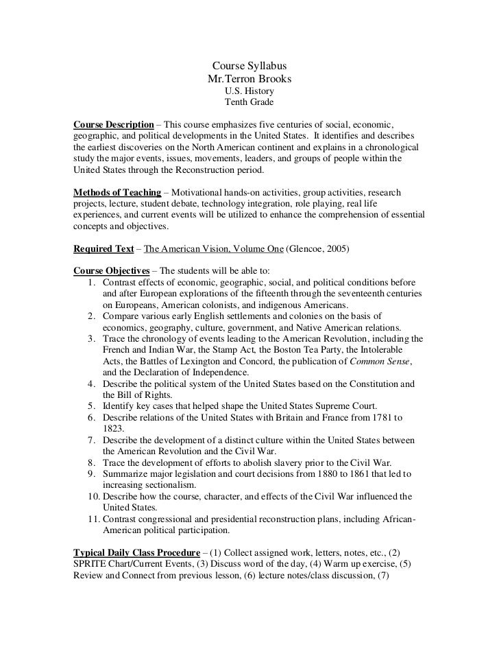2012 US History course syllabus