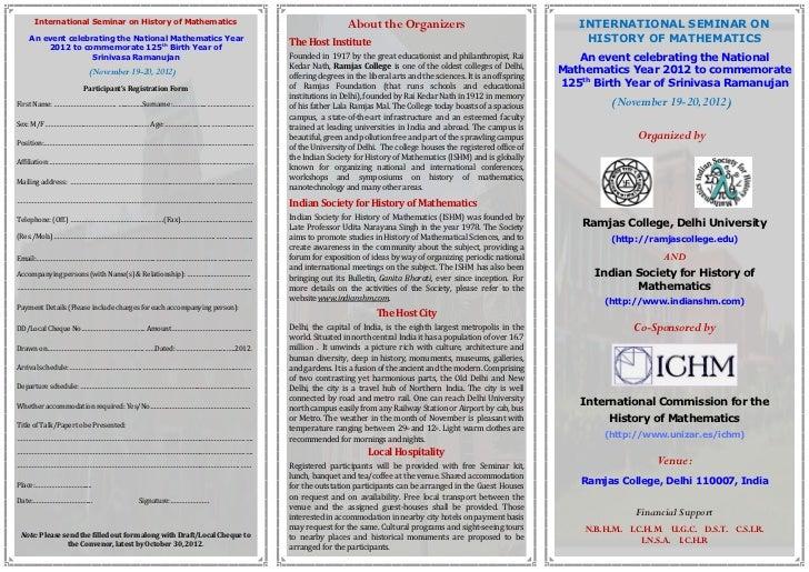 International Seminar on History of Mathematics                                       About the Organizers                ...