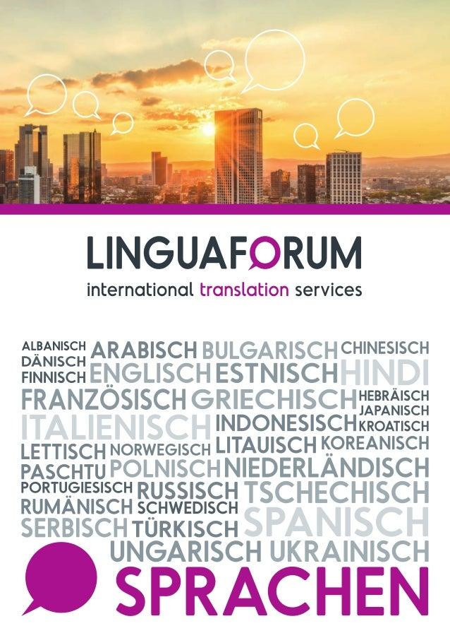 LINGUAFORUM Frankfurt GmbH Mit der Gründung von Linguaforum Frankfurt im Rhein-Main-Gebiet hat sich das international bese...