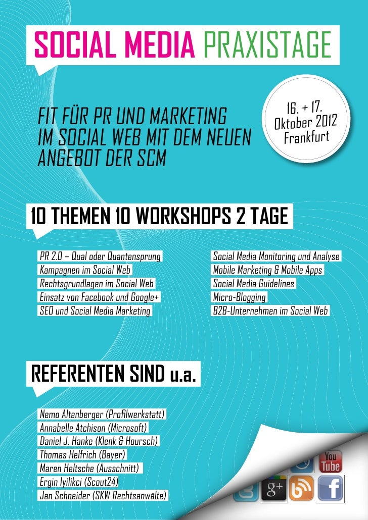 SOCIAL MEDIA PRAXISTAGE                                                         16. + 17.Fit für PR und Marketing         ...