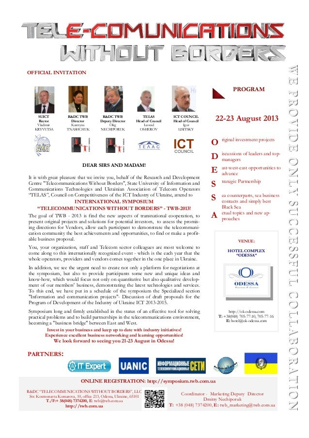 Oficial Invitation on TWB Odessa-2013