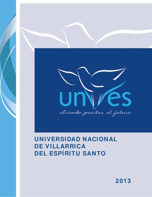 UNIVERSIDAD NACIONAL DE VILLARRICA DEL ESPÍRITU SANTO 2013