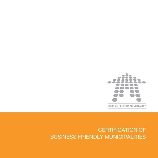 Certification of Business Firendly Municipalities - brochure 2013