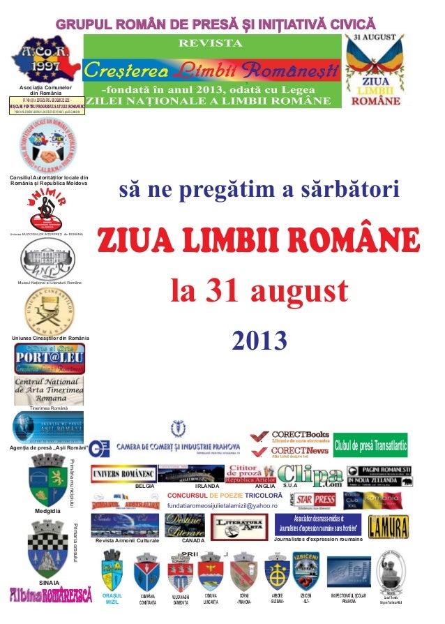 """SĂ NE PREGĂTIM A SĂRBĂTORI ZIUA LIMBII ROMÂNE LA 31 AUGUST 2013"""" -Brosura îndrumător"""