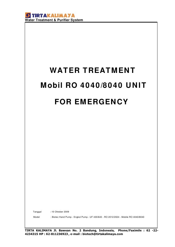 WATER TREATMENT FOR EMERGENCY  Mobil RO 4040/8040