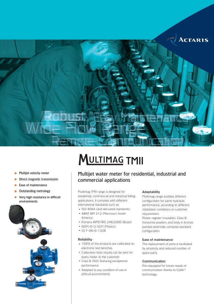 TMII Multijet velocity meter             Multijet water meter for residential, industrial and Direct magnetic transmission...