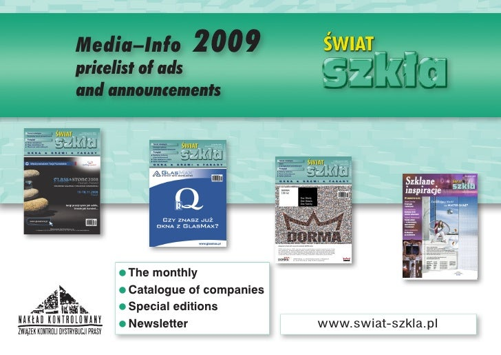 Media–Info      2009 pricelist of ads and announcements         =The monthly     =Catalogue of companies     =Special edit...