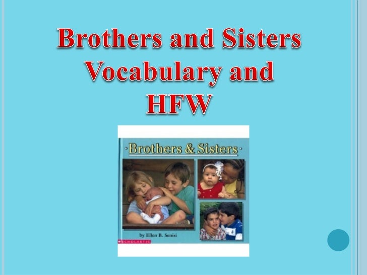 Brothers and Sisters Vocabulary