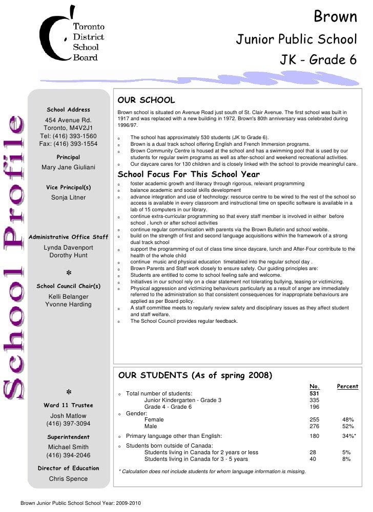 Brown Junior Public School Description