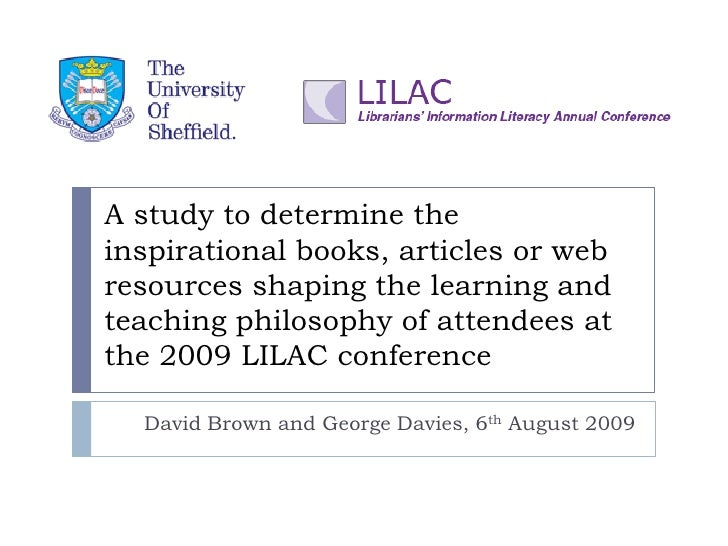 A study to determine the inspirational books, articles or web resources shaping the learning and teaching philosophy of at...