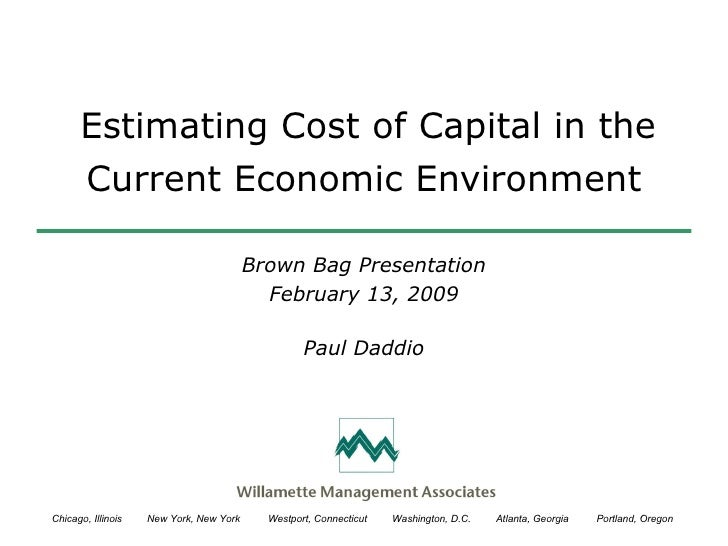 Estimating Cost of Capital in the Current Environment
