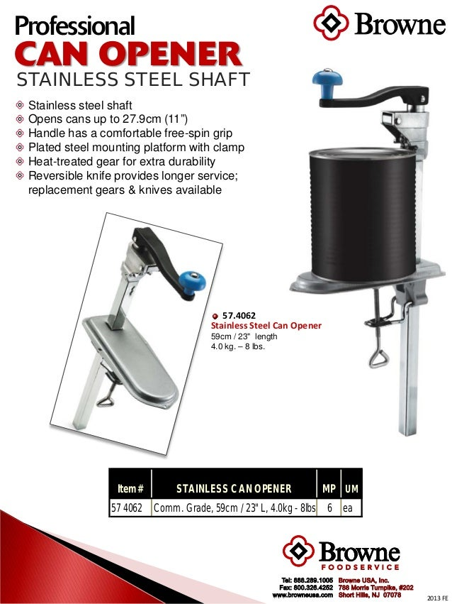 Browne Foodservice Stainless Steel Can Opener