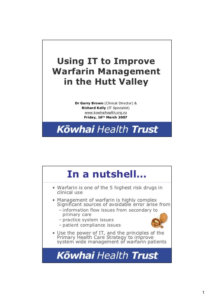 Using IT to Improve     Warfarin Management       in the Hutt Valley                  Dr Garry Brown (Clinical Director) &...