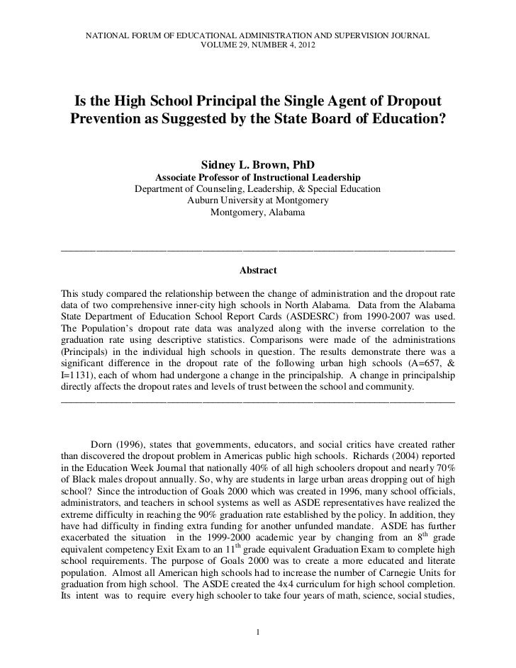 Brown, sidney is the high school principal the single agent of dropout prevention nfeasj v29 n4 2012[1]