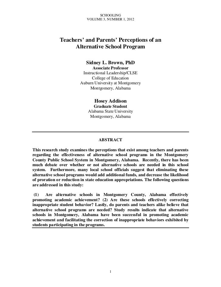 Brown, sidney teachers and parents perceptions of an alternative school program schooling v3 n1 2012