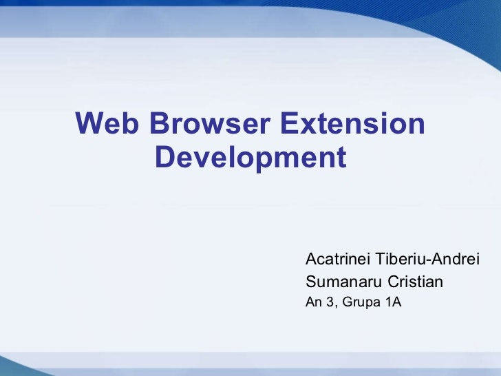 Web Browser Extension Development